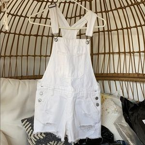 Abercrombie and Fitch White Short Overalls